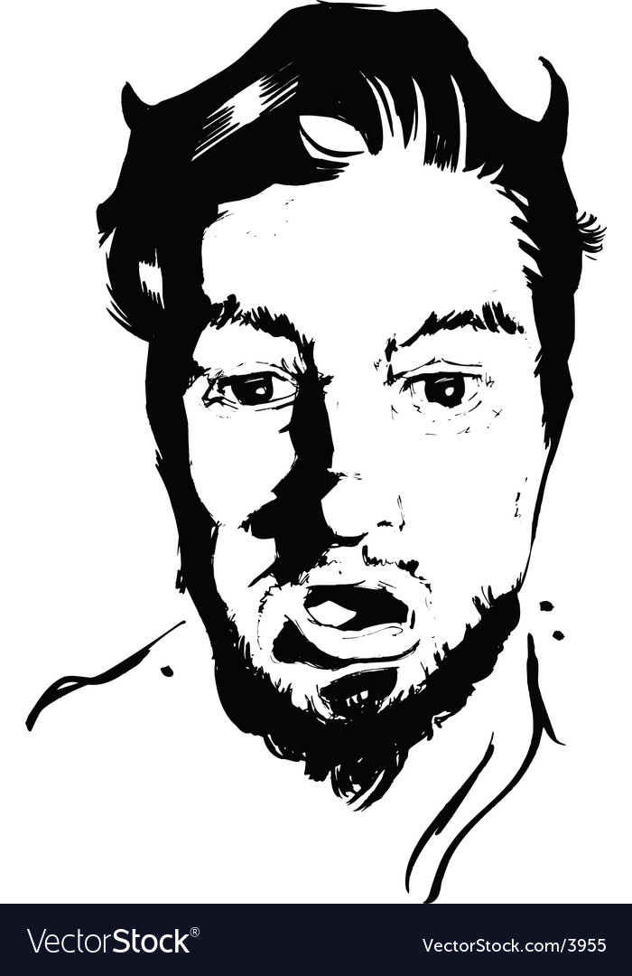 Shock face pen ink vector | Price: 1 Credit (USD $1)