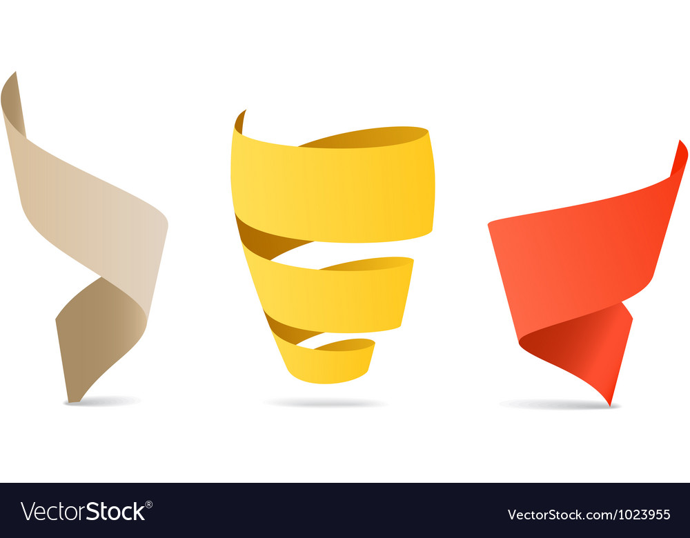 Three color origami spiral ribbons vector | Price: 1 Credit (USD $1)