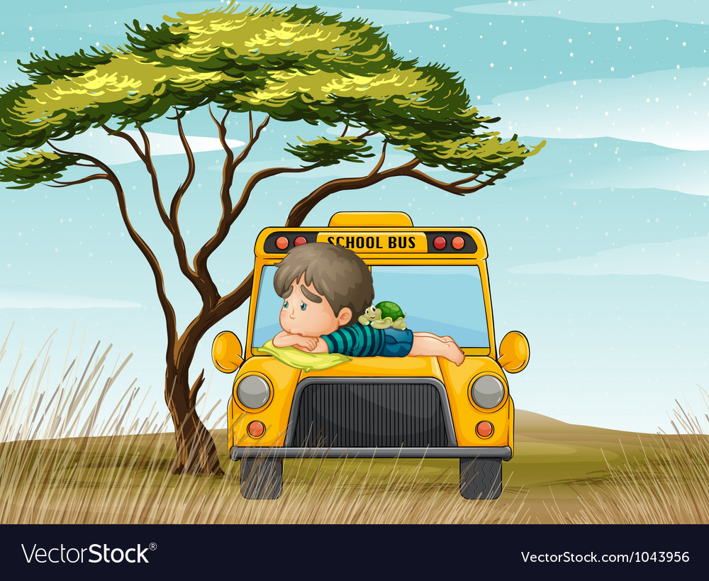 A school bus and boy vector | Price: 3 Credit (USD $3)
