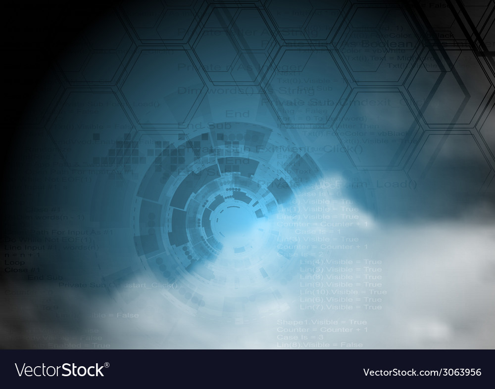 Blue technology background on cloudy sky vector | Price: 1 Credit (USD $1)