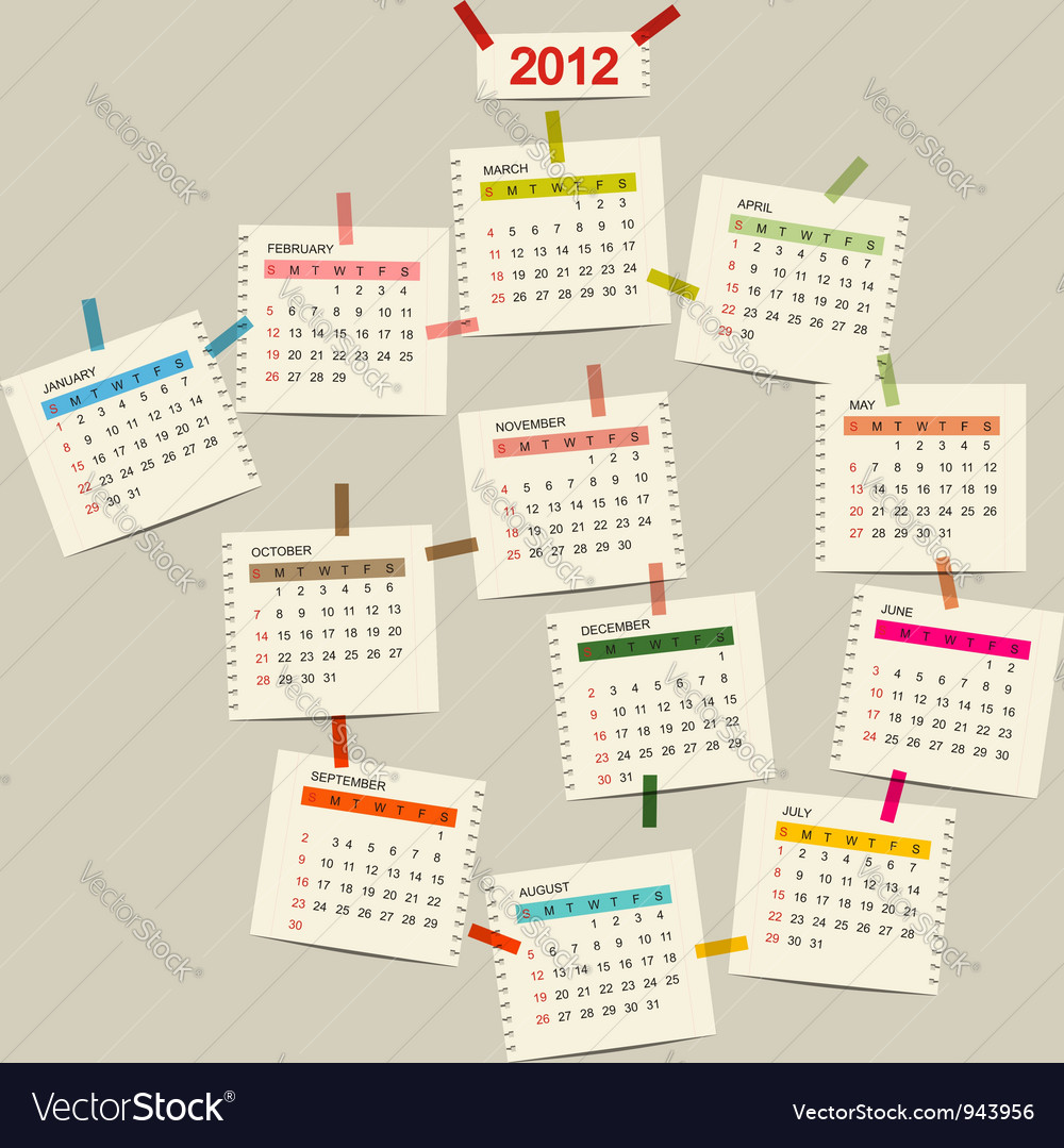 Calendar 2012 for your design vector