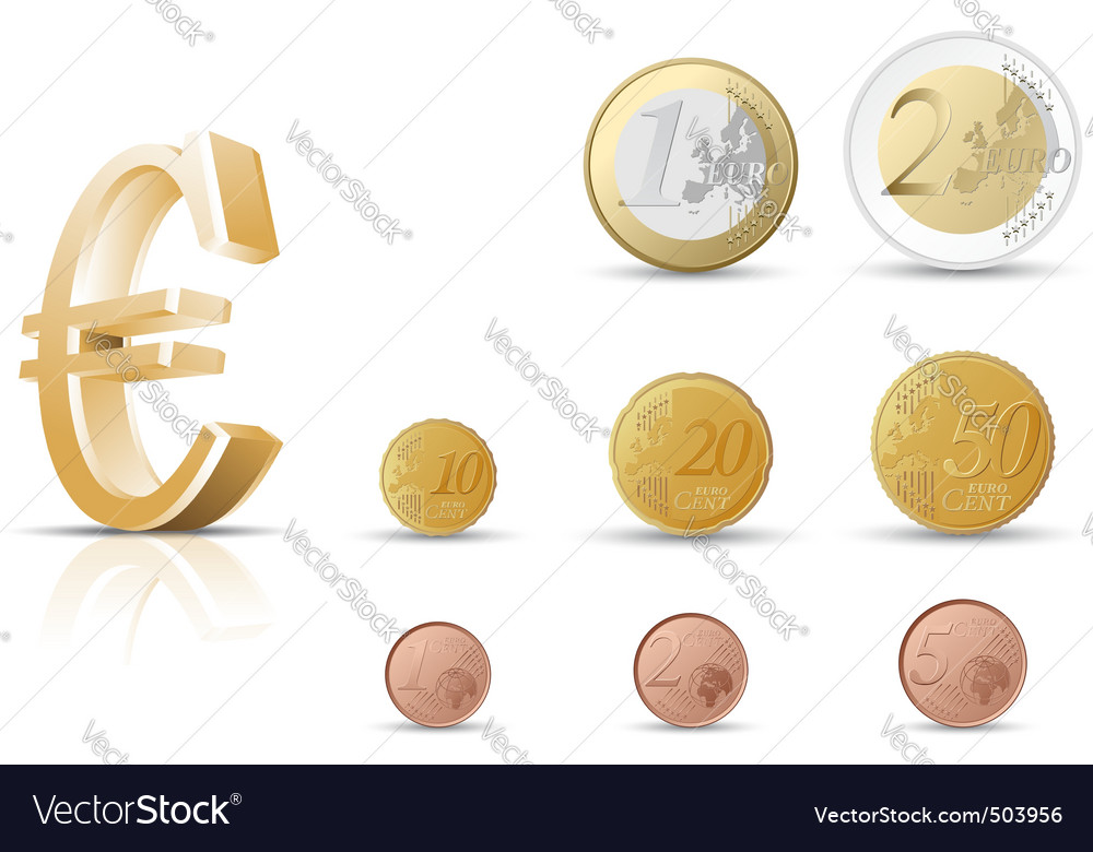 Euro coins vector | Price: 1 Credit (USD $1)