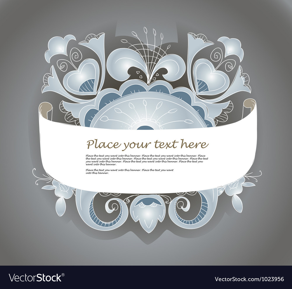 Fantastic style silver ornamented banner vector | Price: 1 Credit (USD $1)