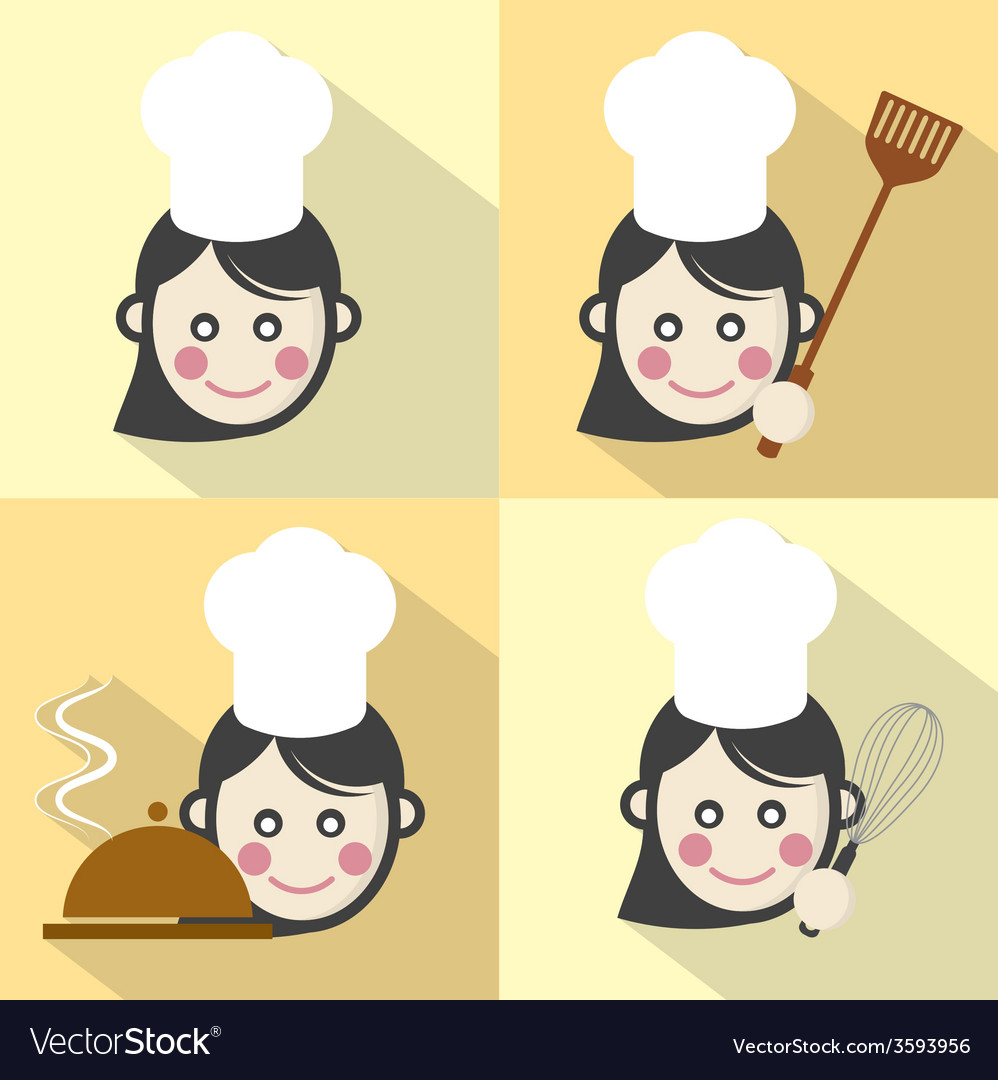 Flat design chef icon with long shadow effect vector | Price: 1 Credit (USD $1)