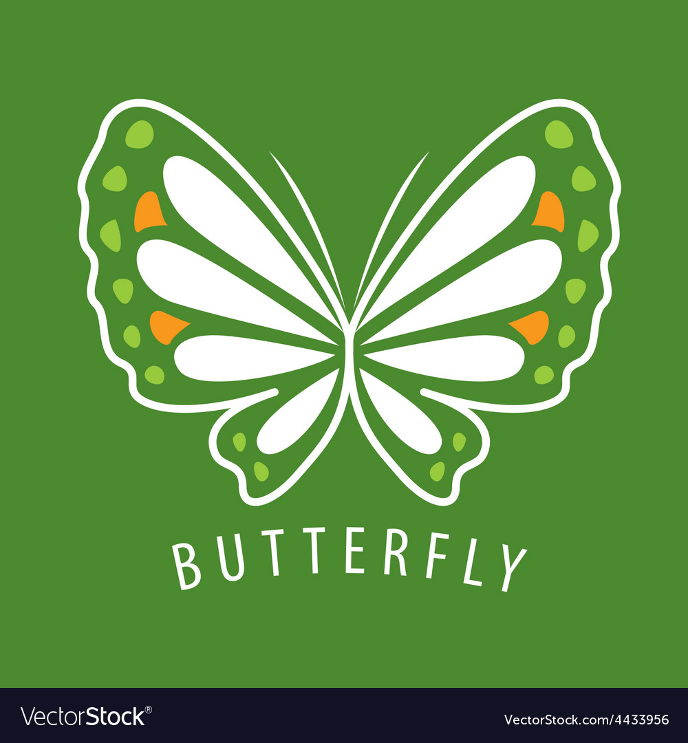 Logo delicate butterfly on a green background vector | Price: 1 Credit (USD $1)