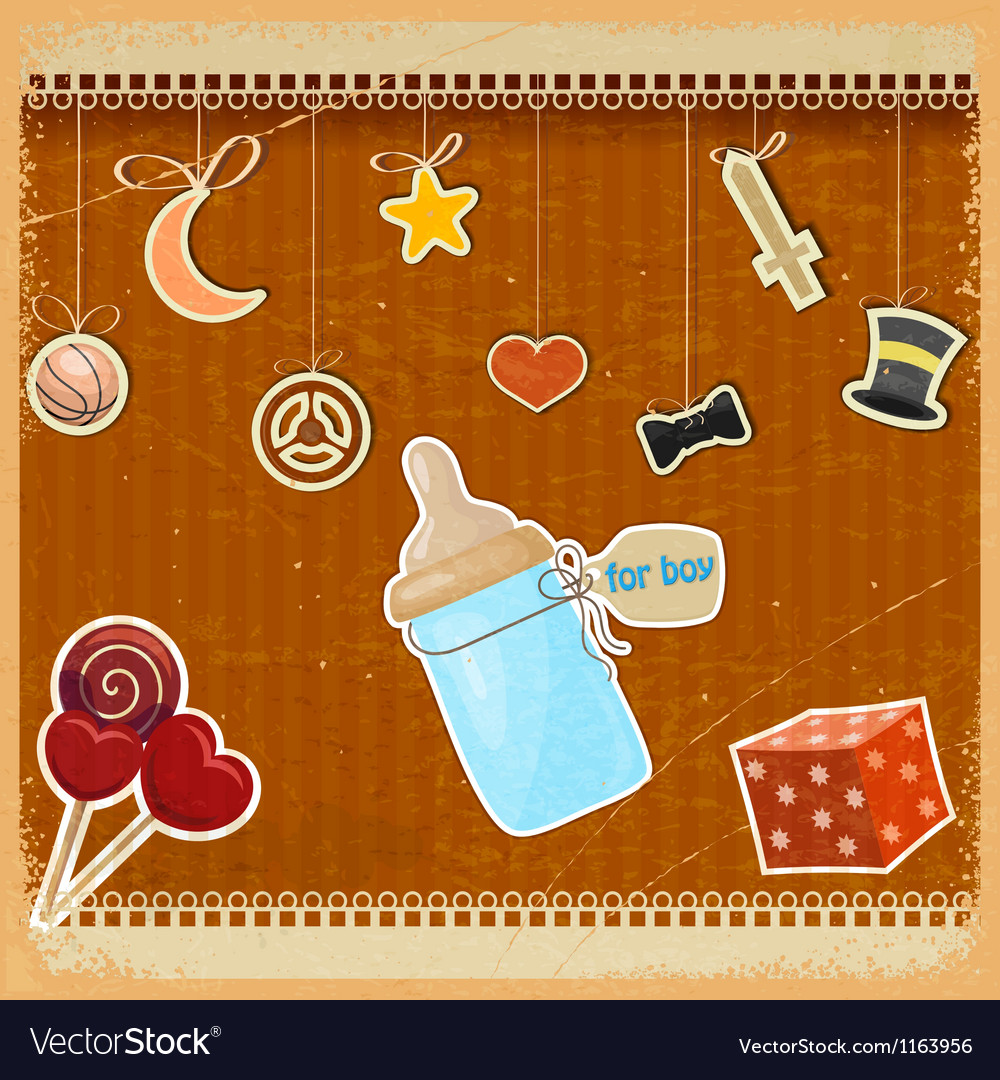 Vintage background with babys bottle of milk vector | Price: 1 Credit (USD $1)
