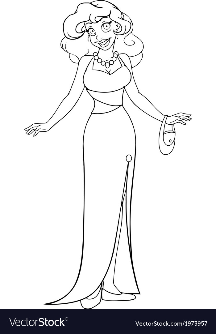 African woman in evening dress coloring page vector | Price: 1 Credit (USD $1)