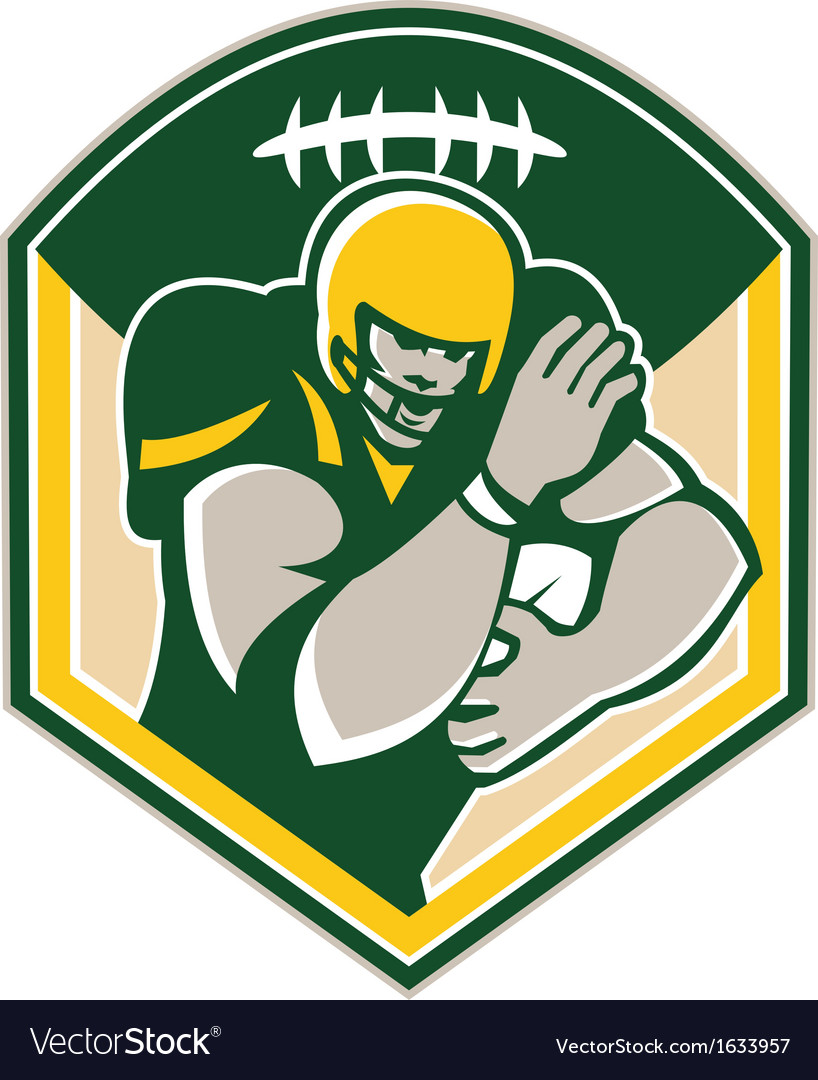 American gridiron running back fending crest vector | Price: 1 Credit (USD $1)