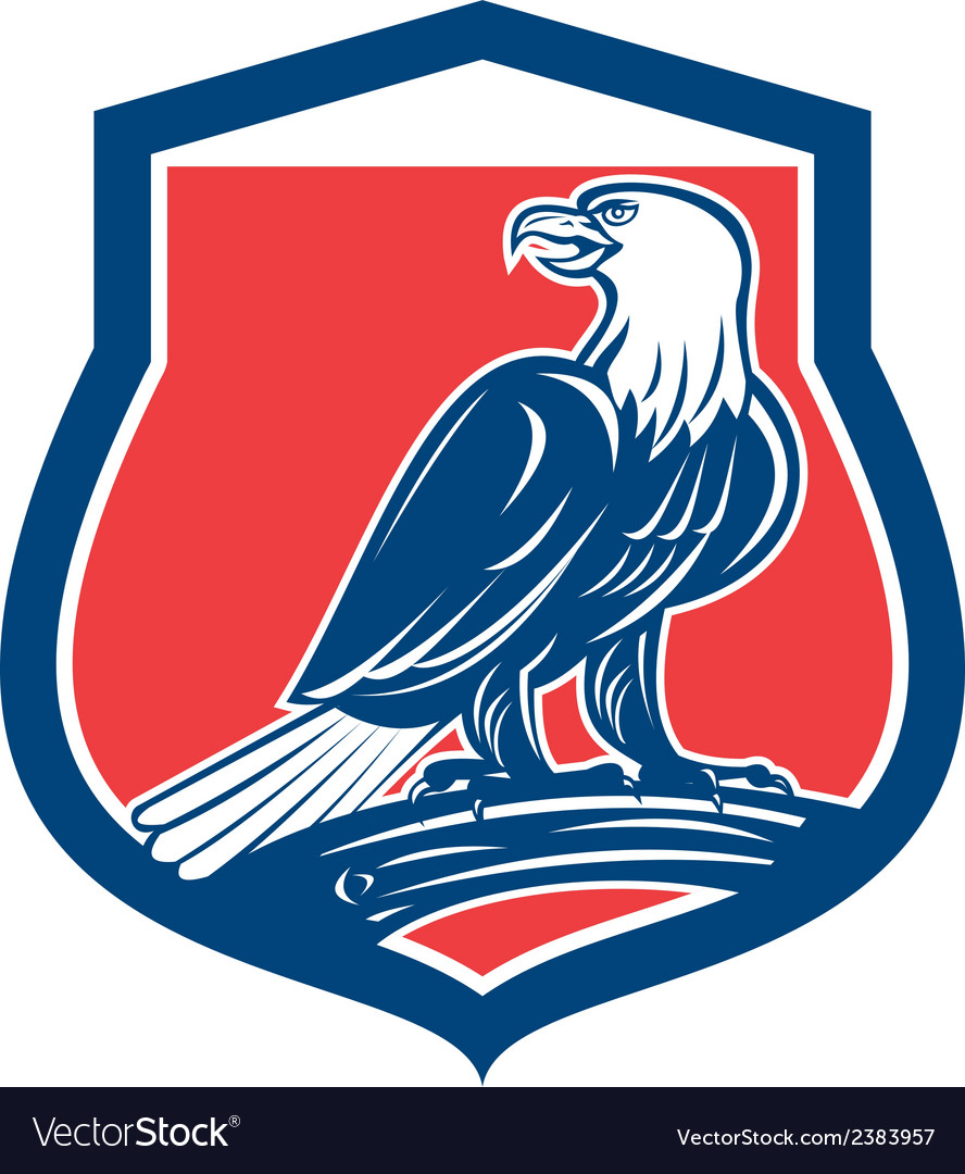 Bald eagle perching shield retro vector | Price: 1 Credit (USD $1)