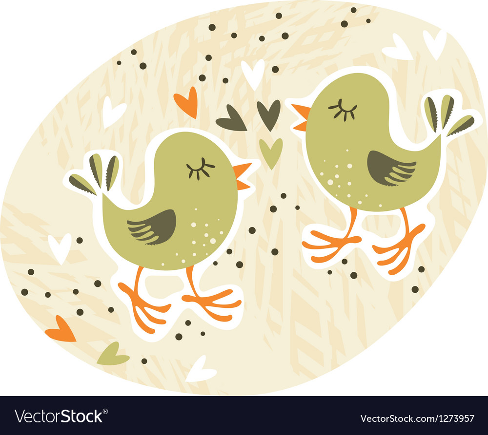 Birds love affair card vector | Price: 3 Credit (USD $3)