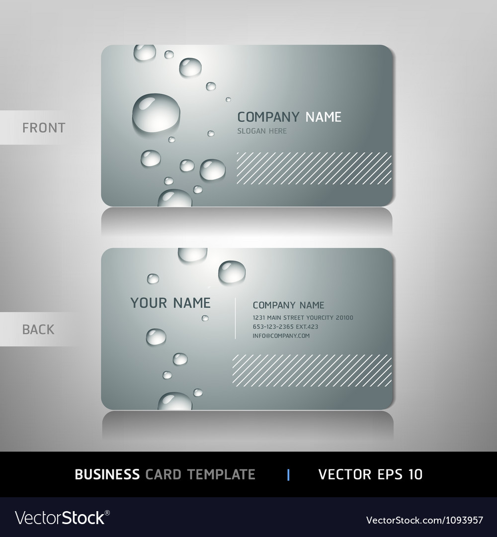 Business card with water drop vector | Price: 1 Credit (USD $1)