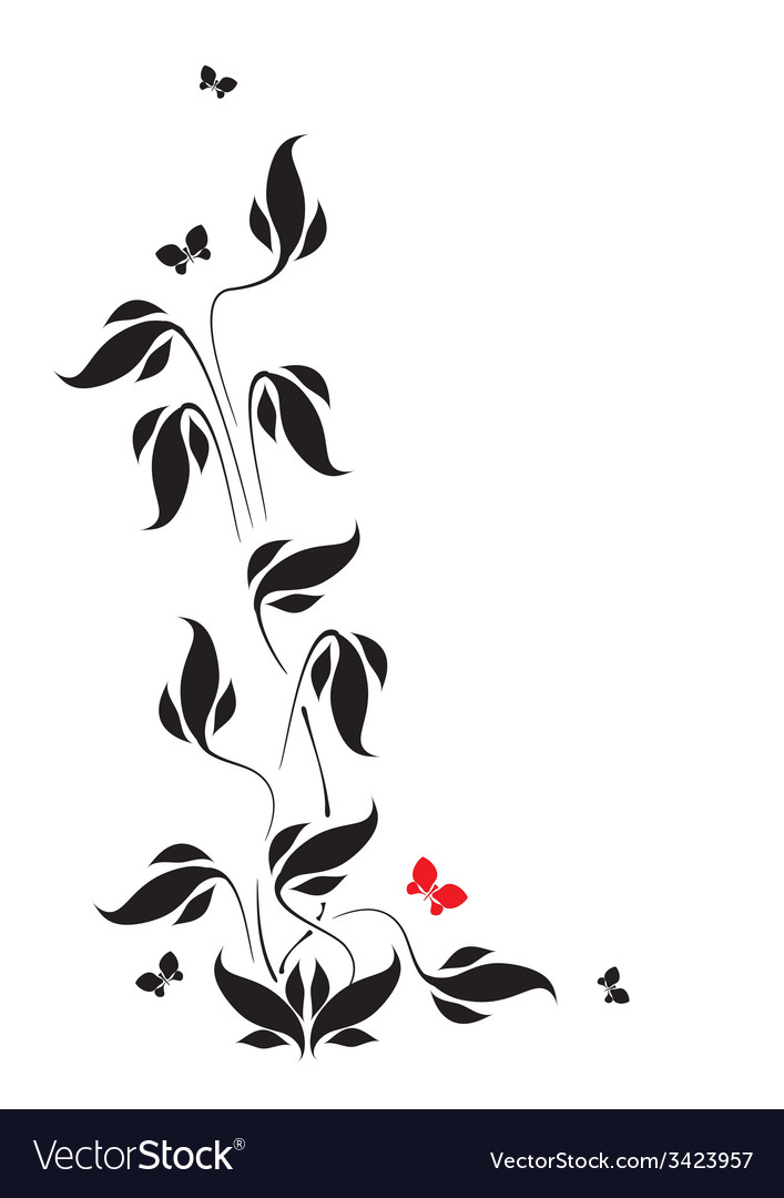Butterflies and leaves vector | Price: 1 Credit (USD $1)