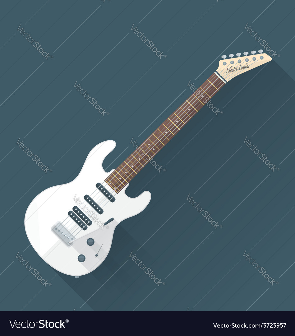 Flat style white electric guitar vector | Price: 1 Credit (USD $1)