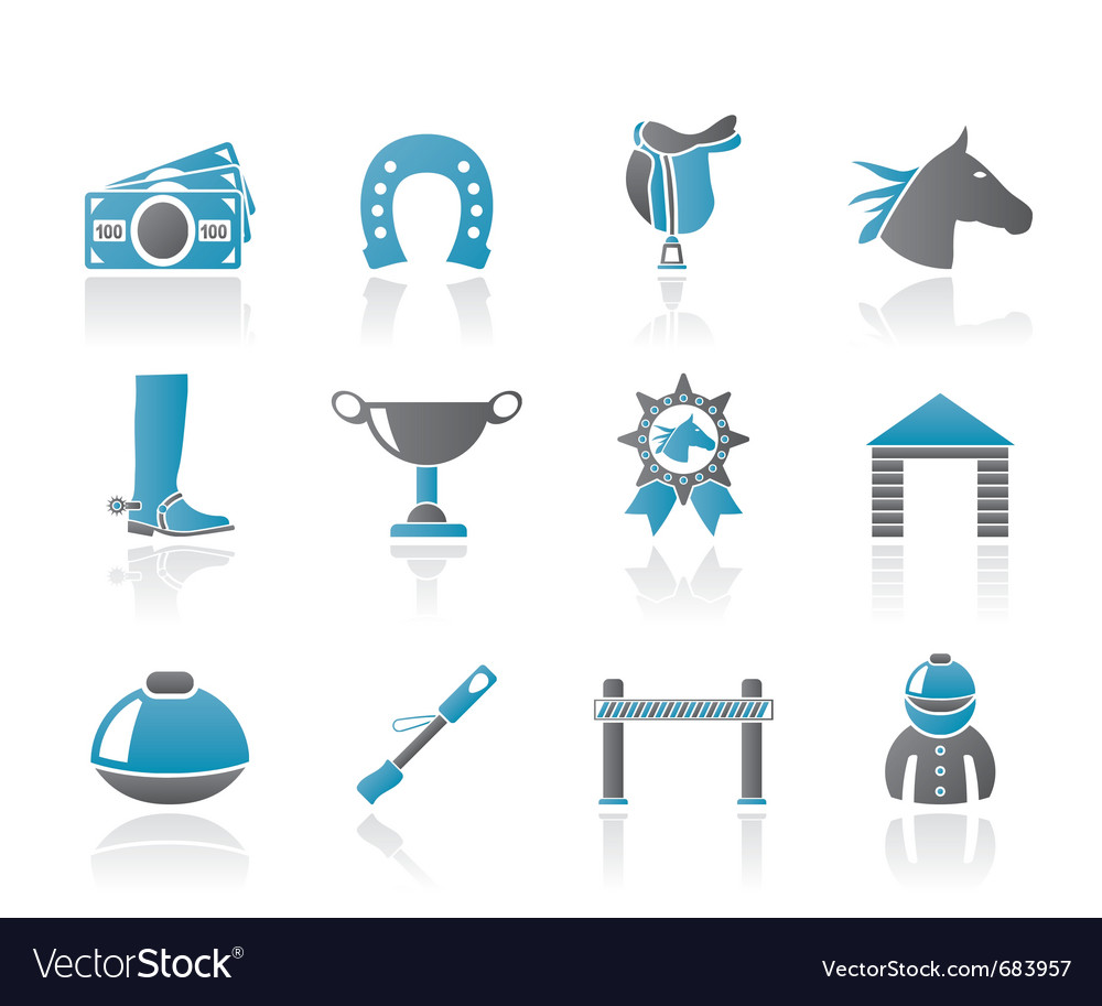 Horse racing and gambling icons vector | Price: 1 Credit (USD $1)