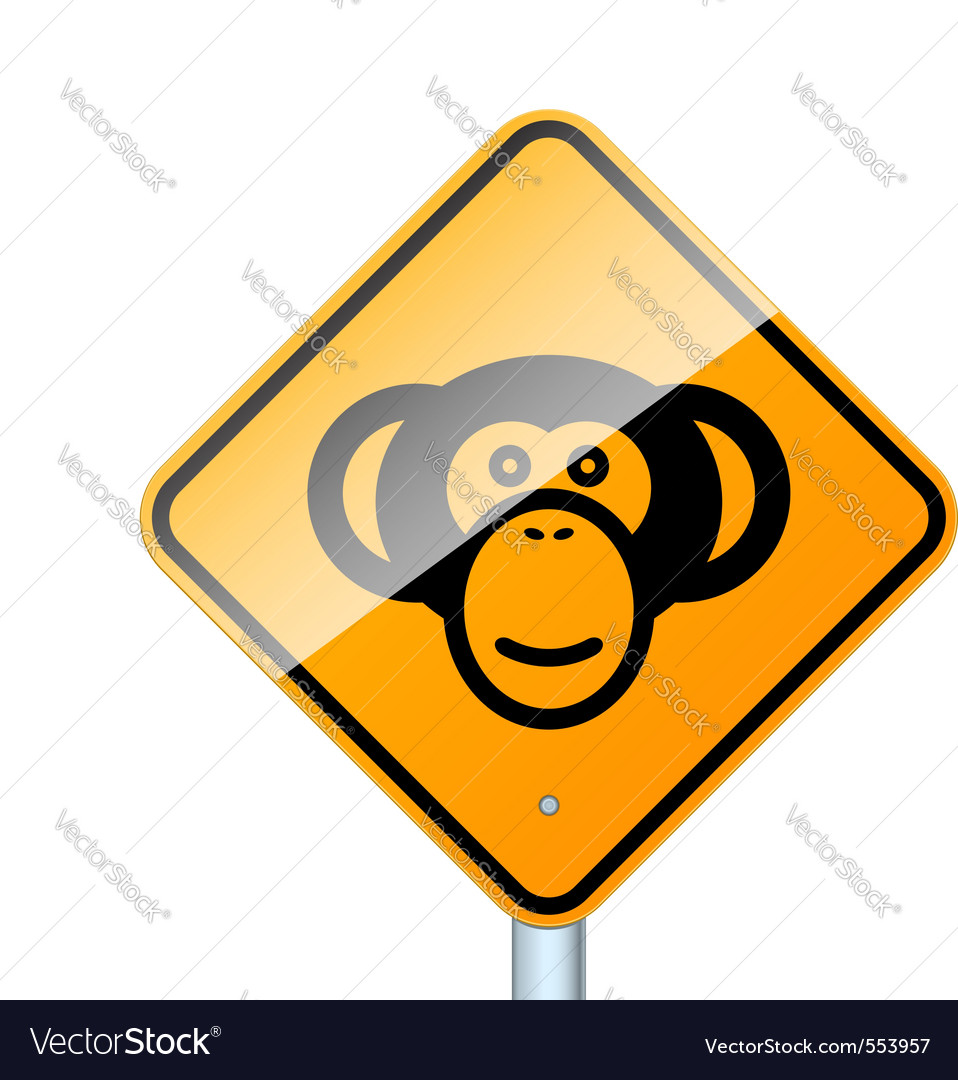 Monkey on road vector | Price: 1 Credit (USD $1)