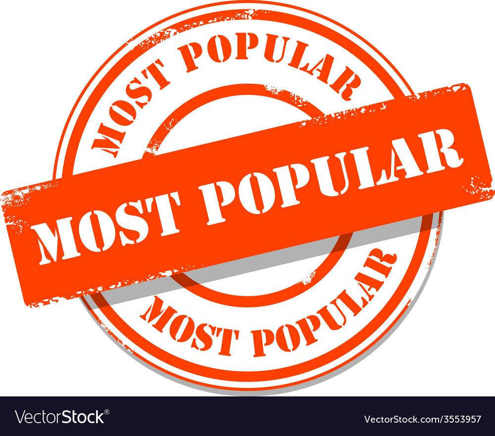 Orange most popular tag stamp vector