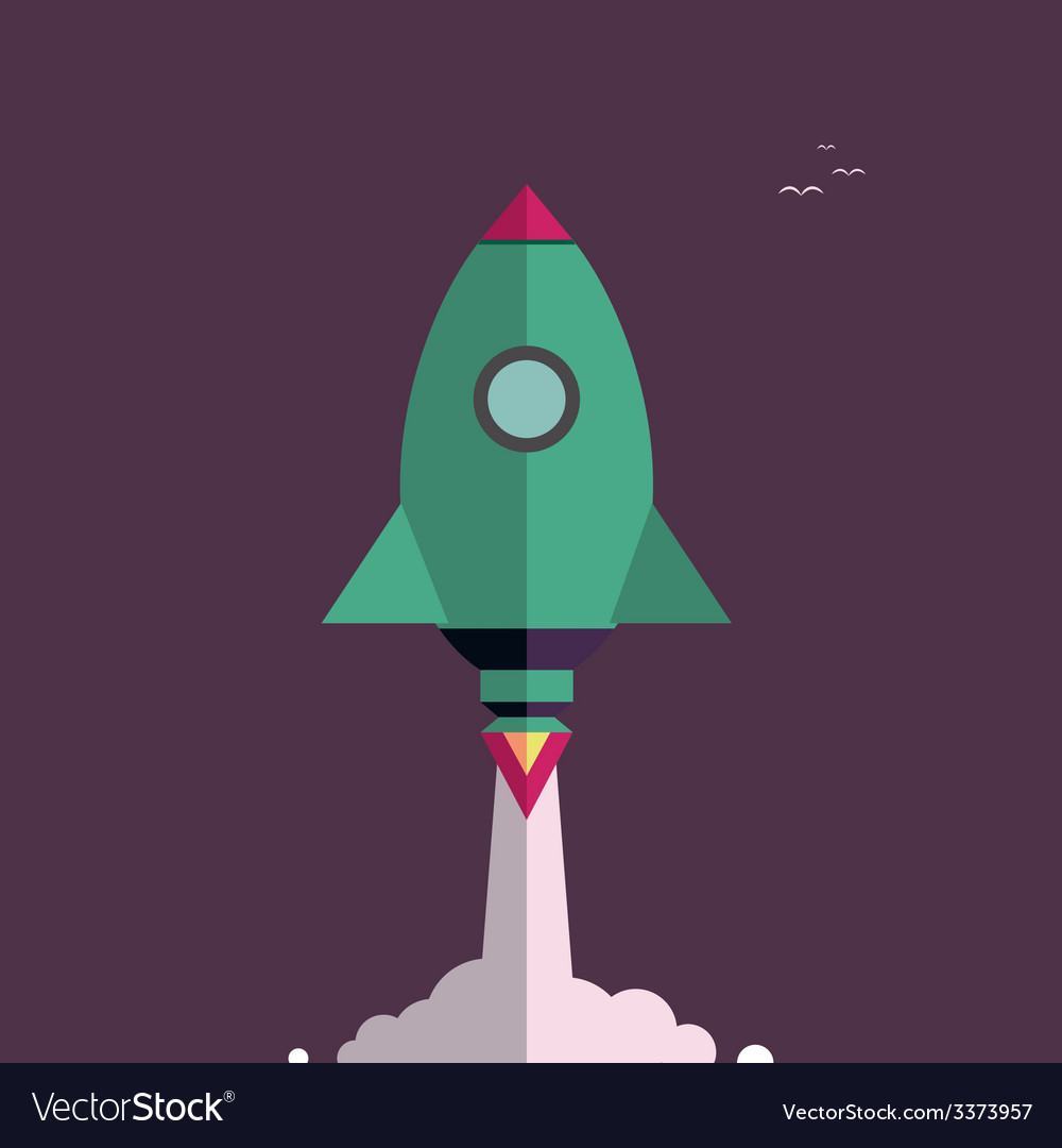 Start up new business project with rocket vector | Price: 1 Credit (USD $1)