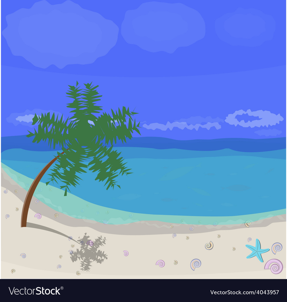 Sunny beach vector | Price: 1 Credit (USD $1)