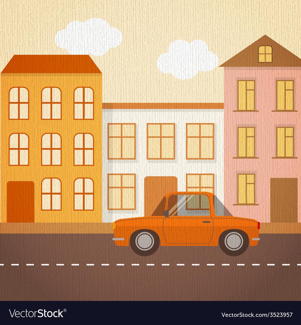 Urban landscape in retro style vector | Price: 1 Credit (USD $1)