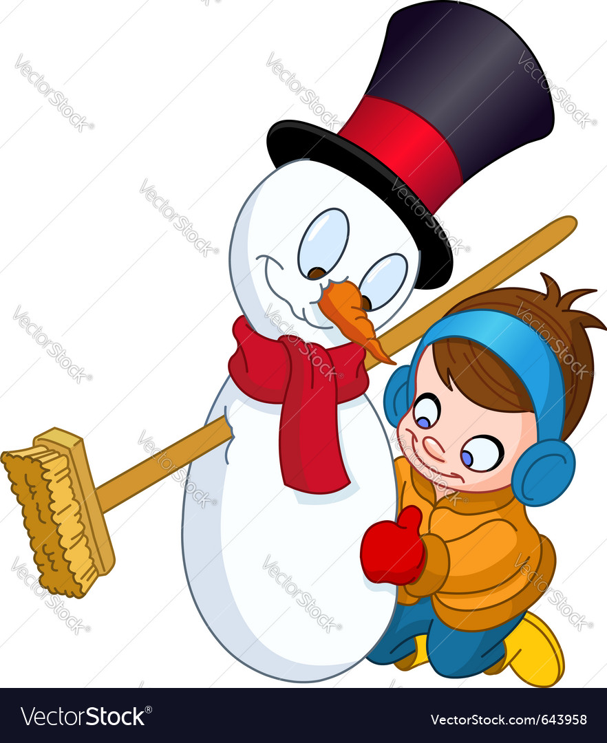 Boy making snowman vector | Price: 3 Credit (USD $3)
