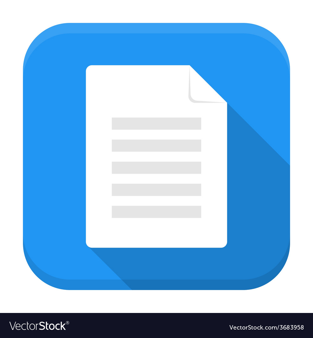 Document app icon with long shadow vector | Price: 1 Credit (USD $1)