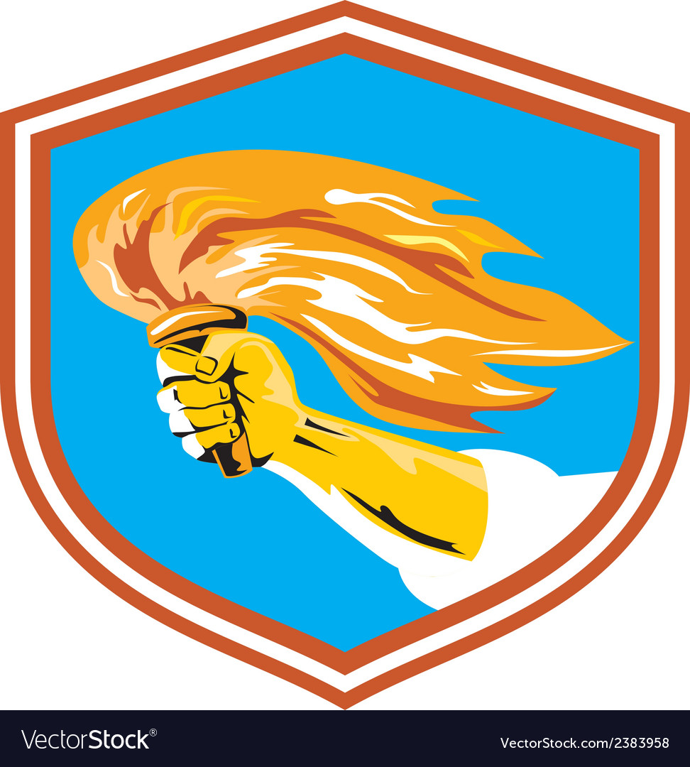 Hand holding burning flaming torch retro vector   Price: 1 Credit (USD $1)
