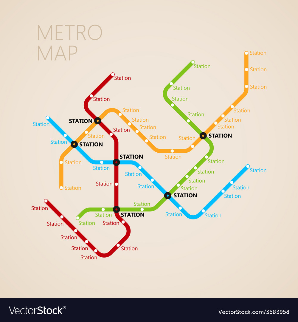 Metro subway map design template transportation vector | Price: 1 Credit (USD $1)
