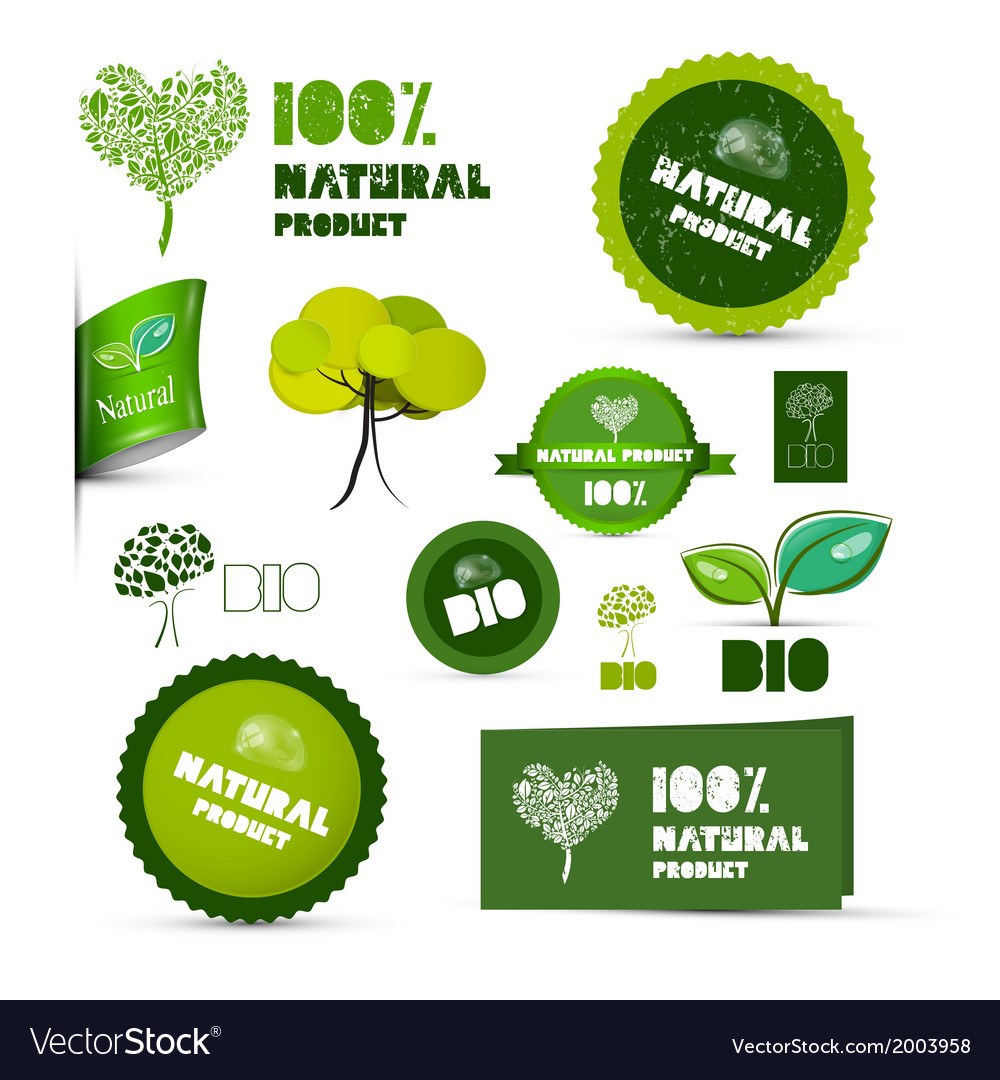 Natural product green labels - tags - stickers set vector | Price: 1 Credit (USD $1)