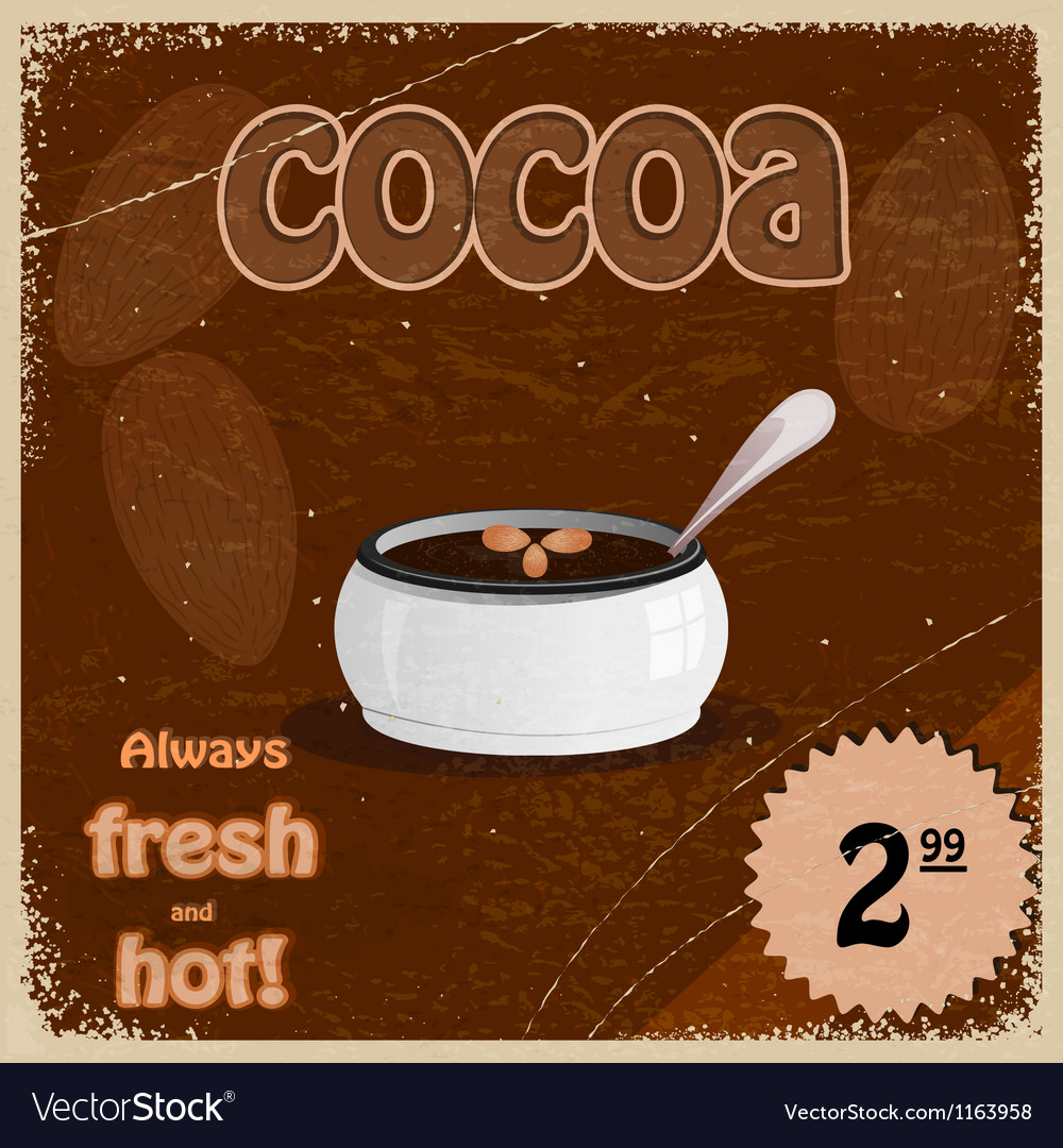 Retro background with the hot chocolate and cocoa vector | Price: 1 Credit (USD $1)