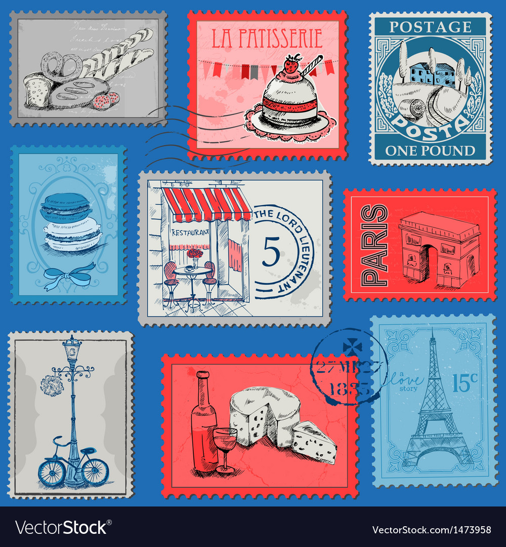 Set of stamps - vintage paris and france vector | Price: 3 Credit (USD $3)