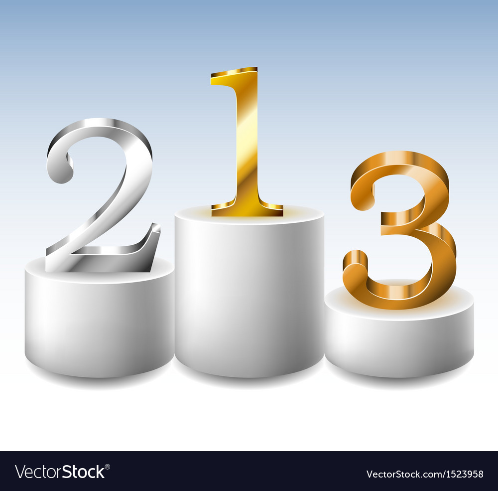 Winner podium with gold silver and bronze numbers vector | Price: 1 Credit (USD $1)