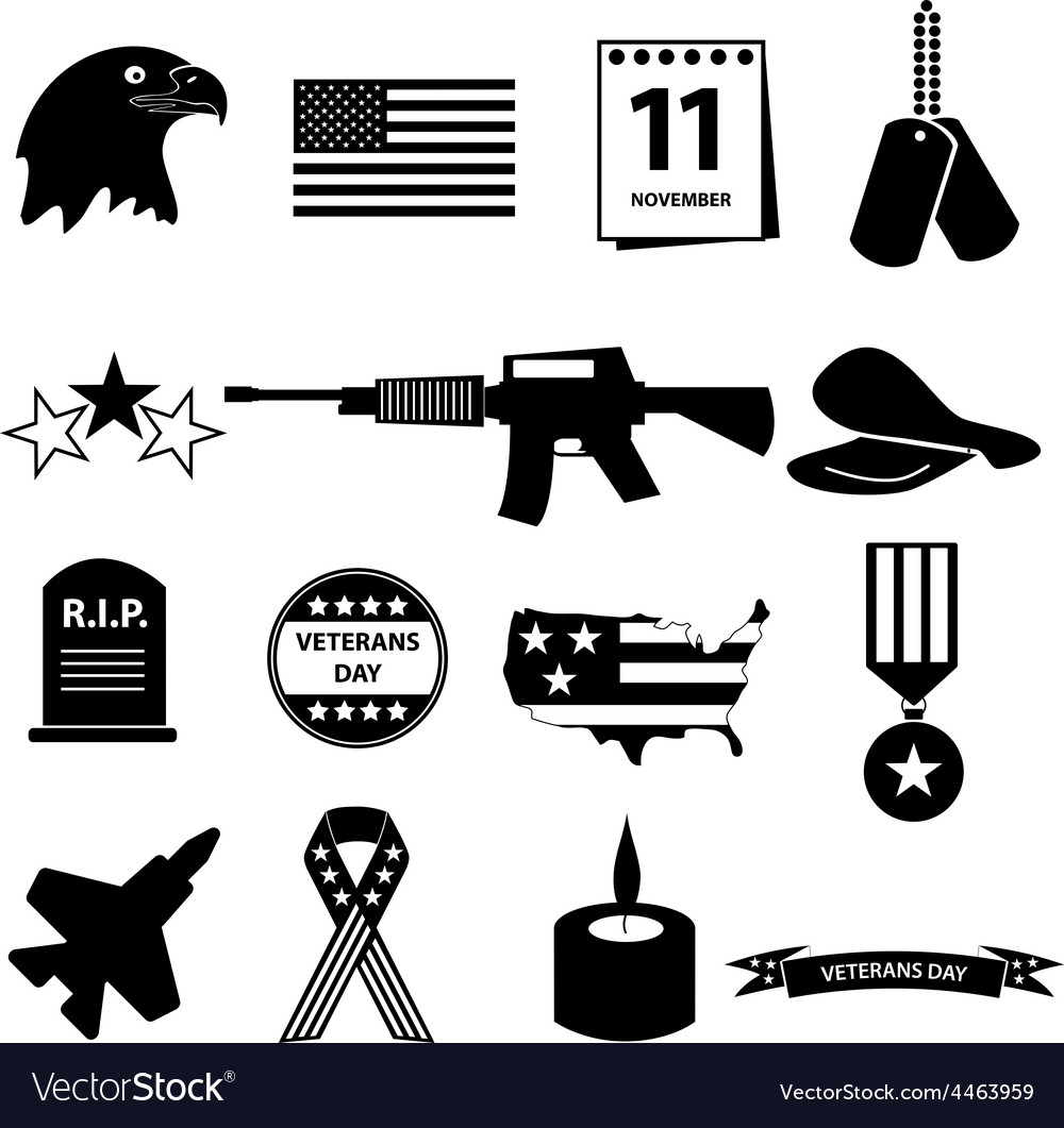 American veterans day celebration icons set eps10 vector | Price: 1 Credit (USD $1)