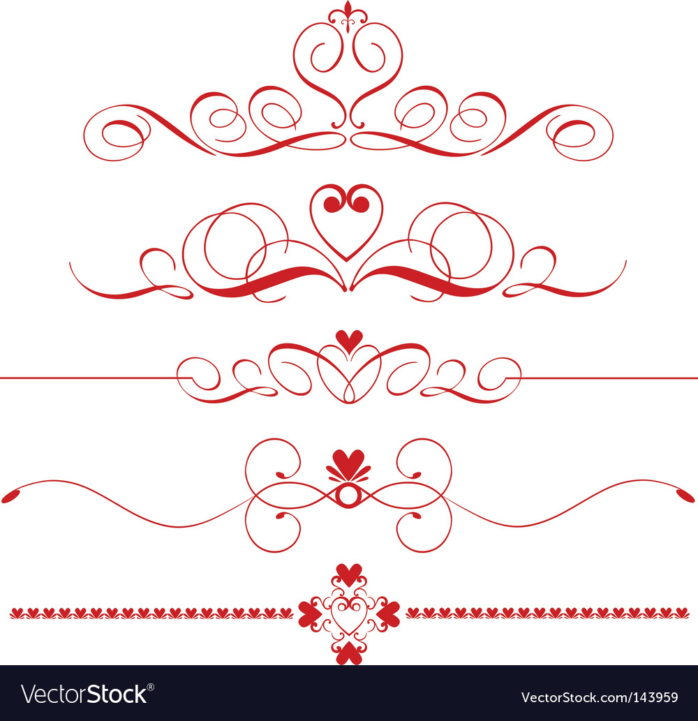 Decorative heart dividers vector | Price: 1 Credit (USD $1)