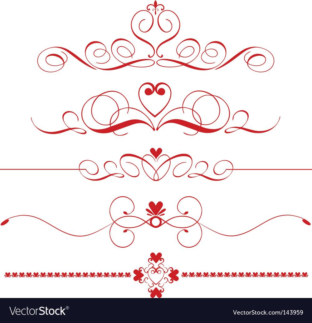 Decorative heart dividers vector | Price: 1 Credit (USD $1)