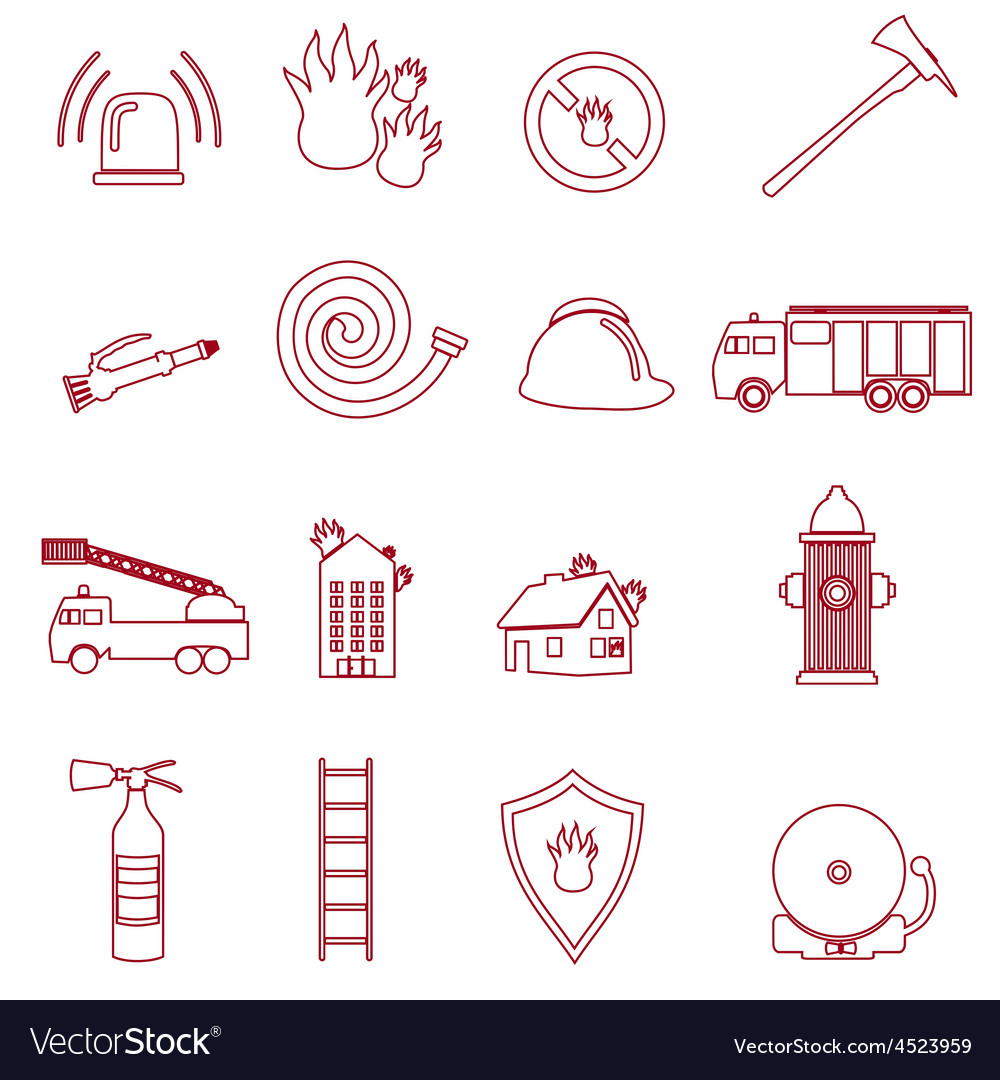 Fire brigade outline red icons set eps10 vector | Price: 1 Credit (USD $1)