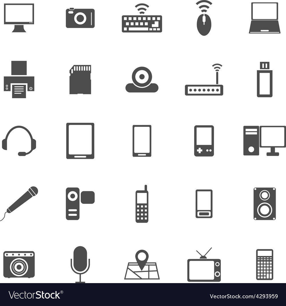 Gadget icons on white background vector | Price: 1 Credit (USD $1)
