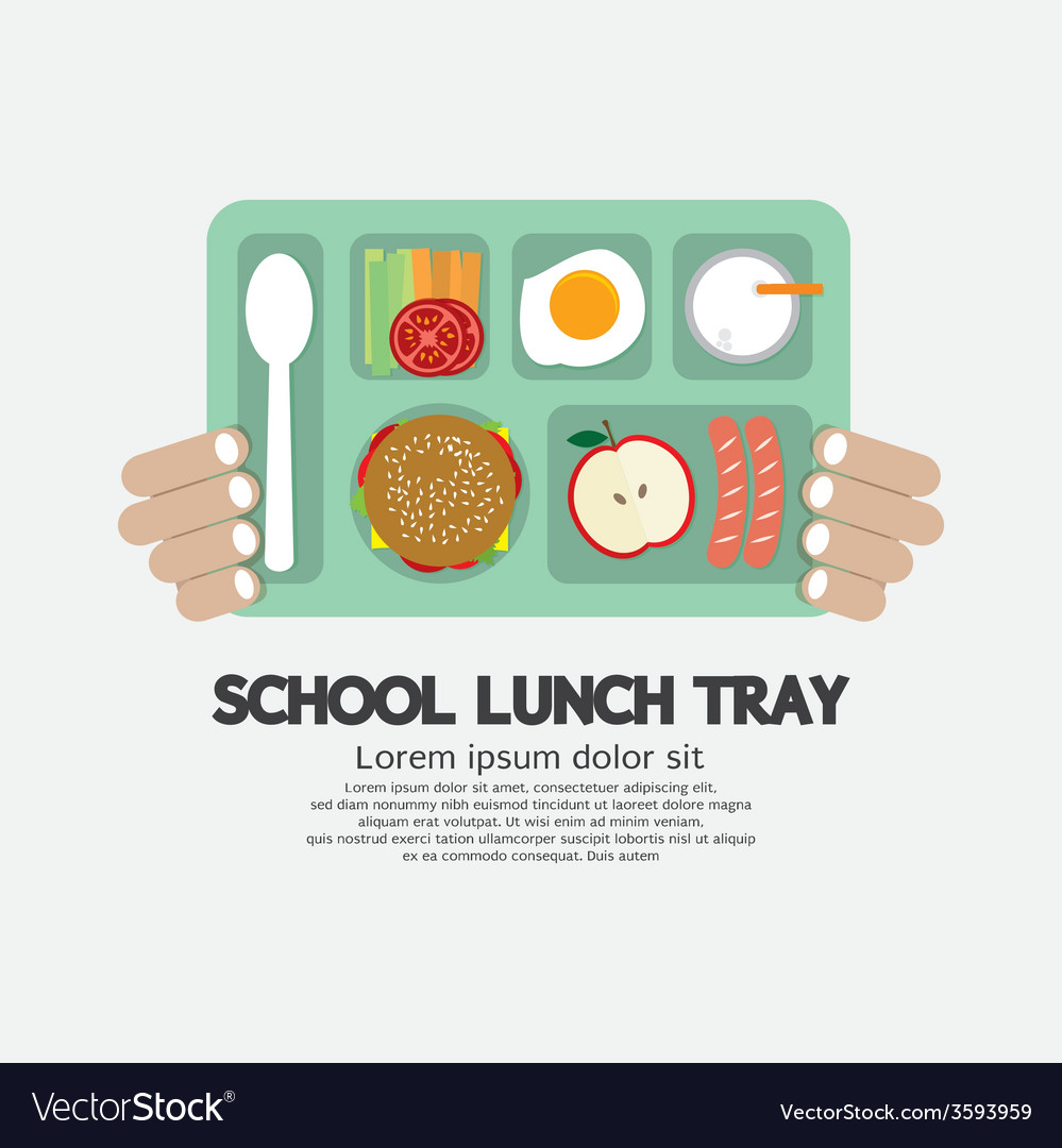 Hand holding a school lunch tray vector | Price: 1 Credit (USD $1)