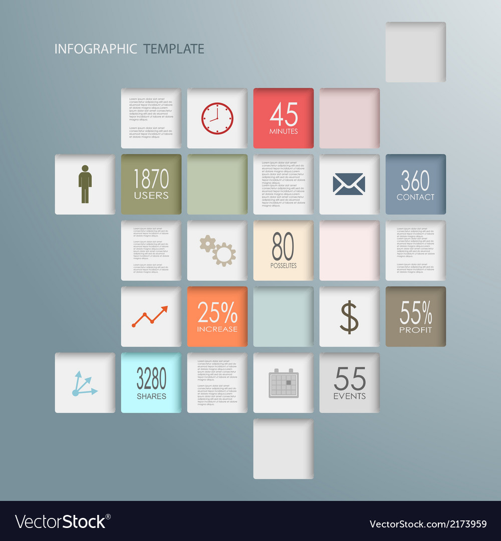 Info graphic squares web elements template vector   Price: 1 Credit (USD $1)