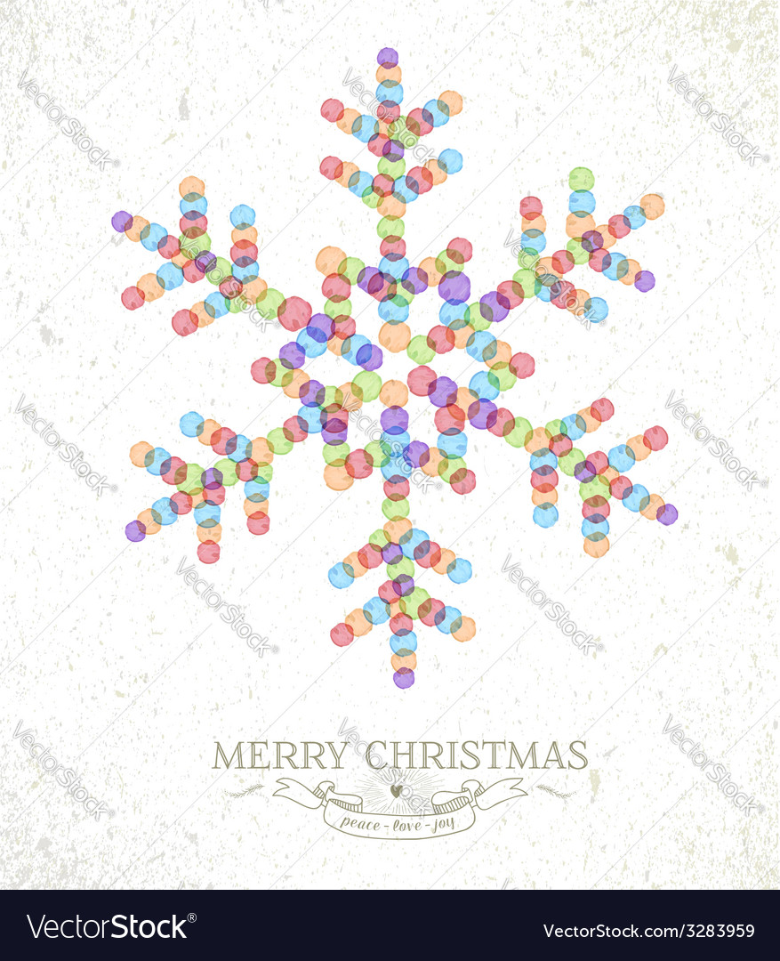 Merry christmas watercolor snowflake vector | Price: 1 Credit (USD $1)