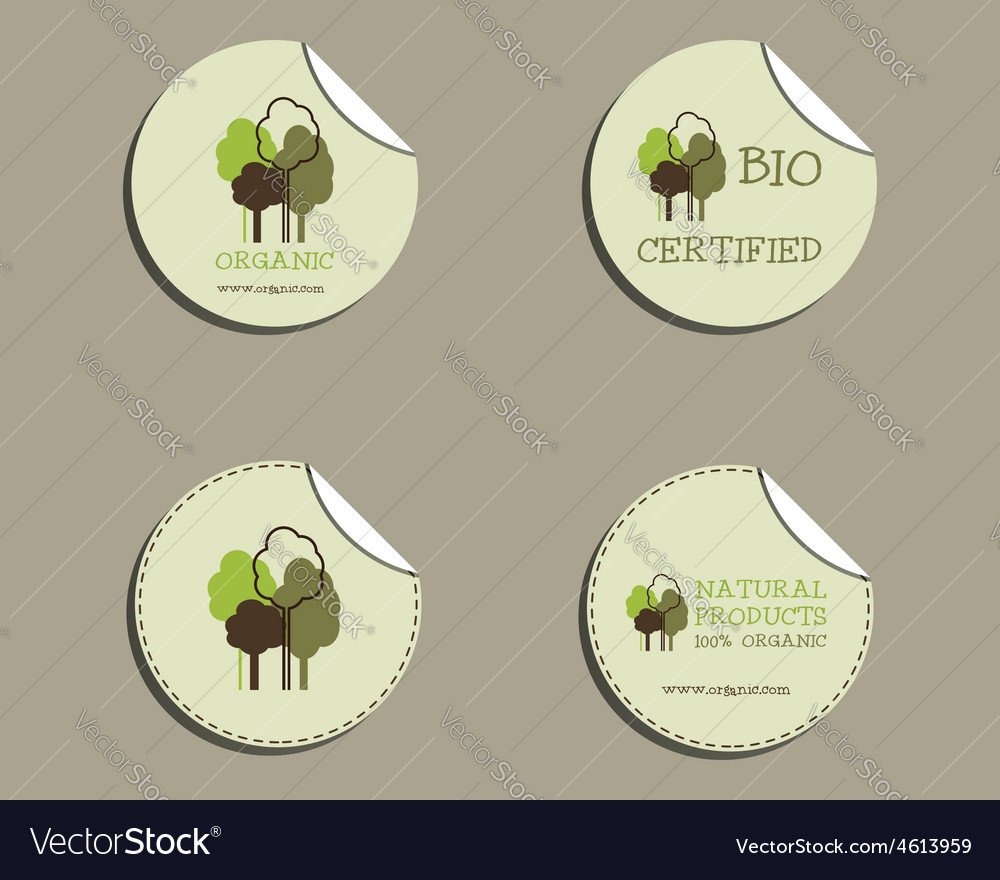 Set of green organic labels - stickers for natural vector | Price: 1 Credit (USD $1)