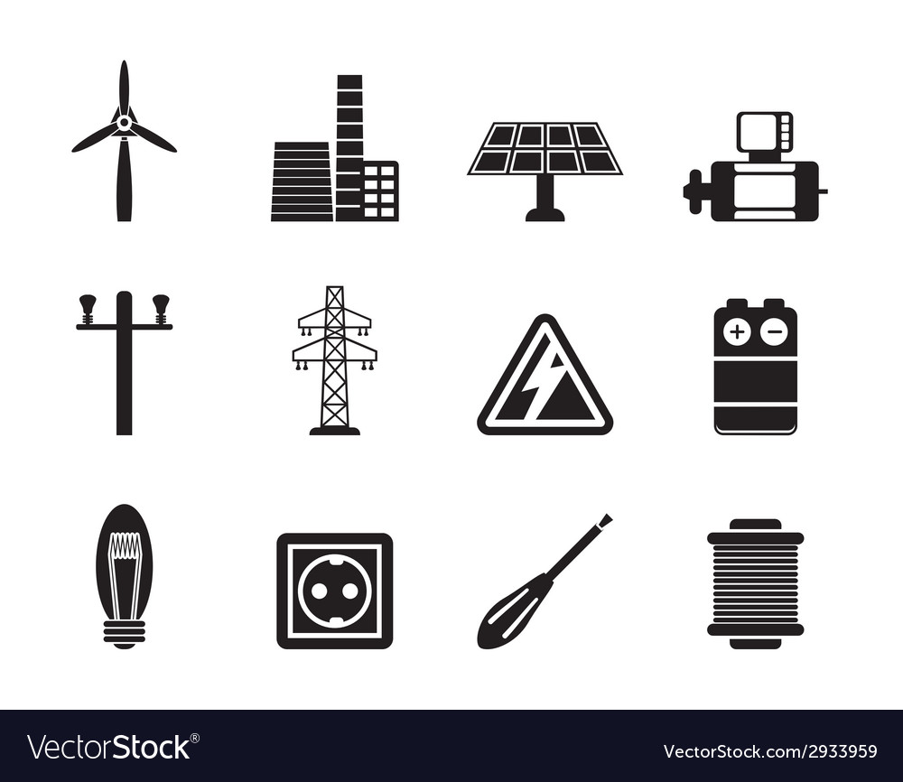 Silhouette electricity and power icons vector | Price: 1 Credit (USD $1)