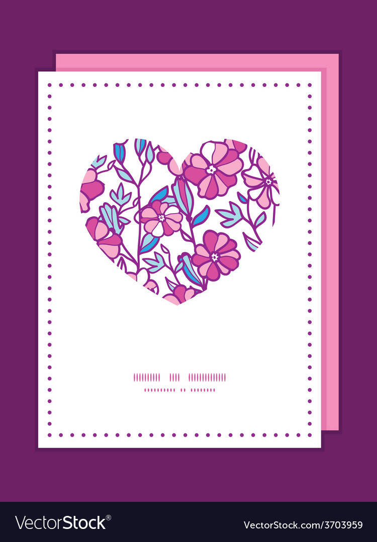 Vibrant field flowers heart symbol frame vector | Price: 1 Credit (USD $1)