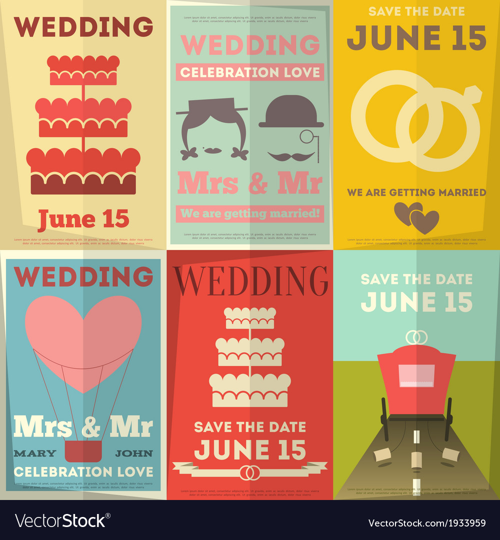 Wedding posters set vector | Price: 1 Credit (USD $1)