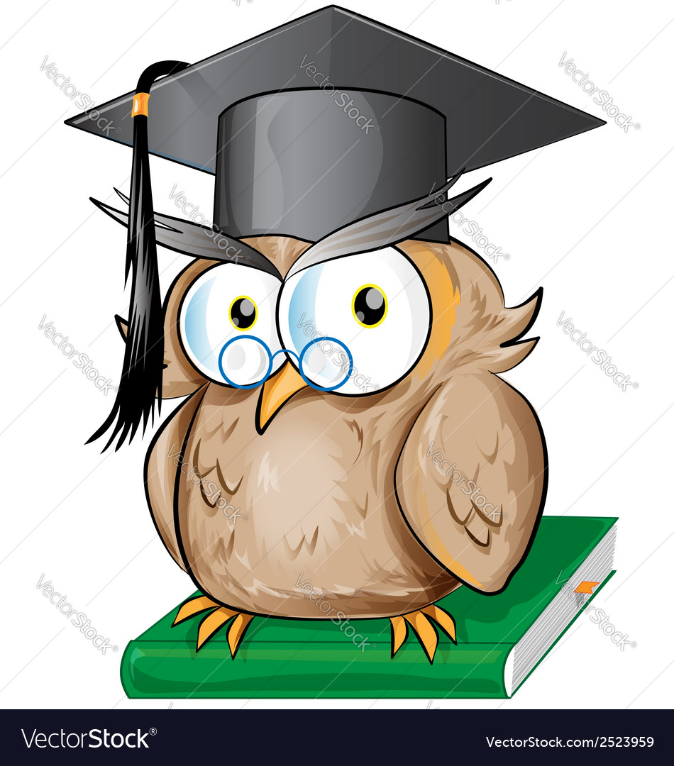 Wise owl cartoon vector | Price: 1 Credit (USD $1)