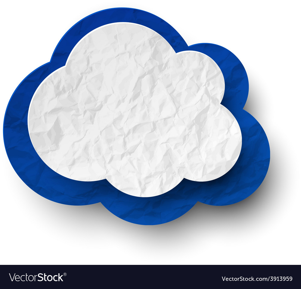 Wrinkled paper white-blue cloud vector | Price: 1 Credit (USD $1)