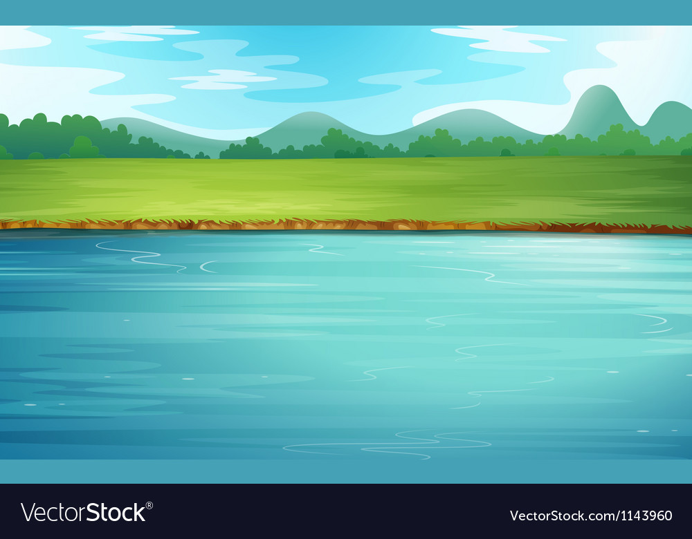 A river and a beautiful landscape vector | Price: 1 Credit (USD $1)