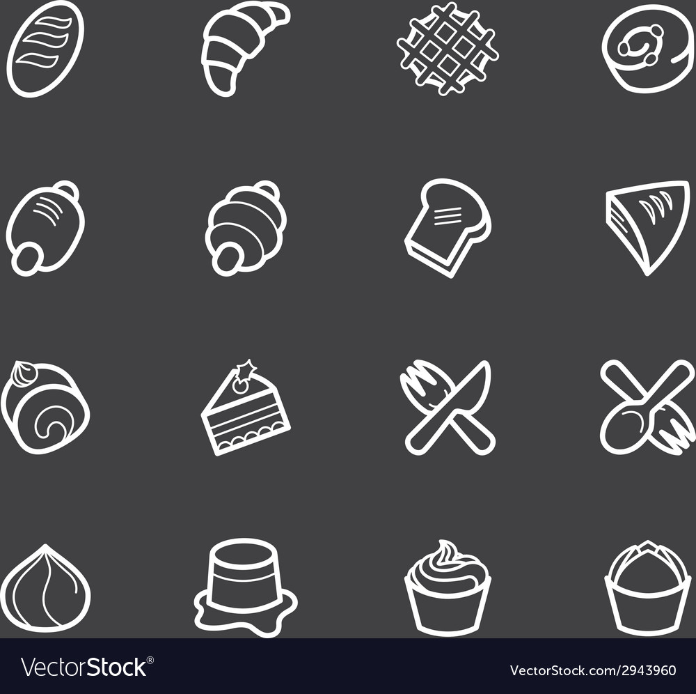 Bakery popular white icon set on black background vector | Price: 1 Credit (USD $1)