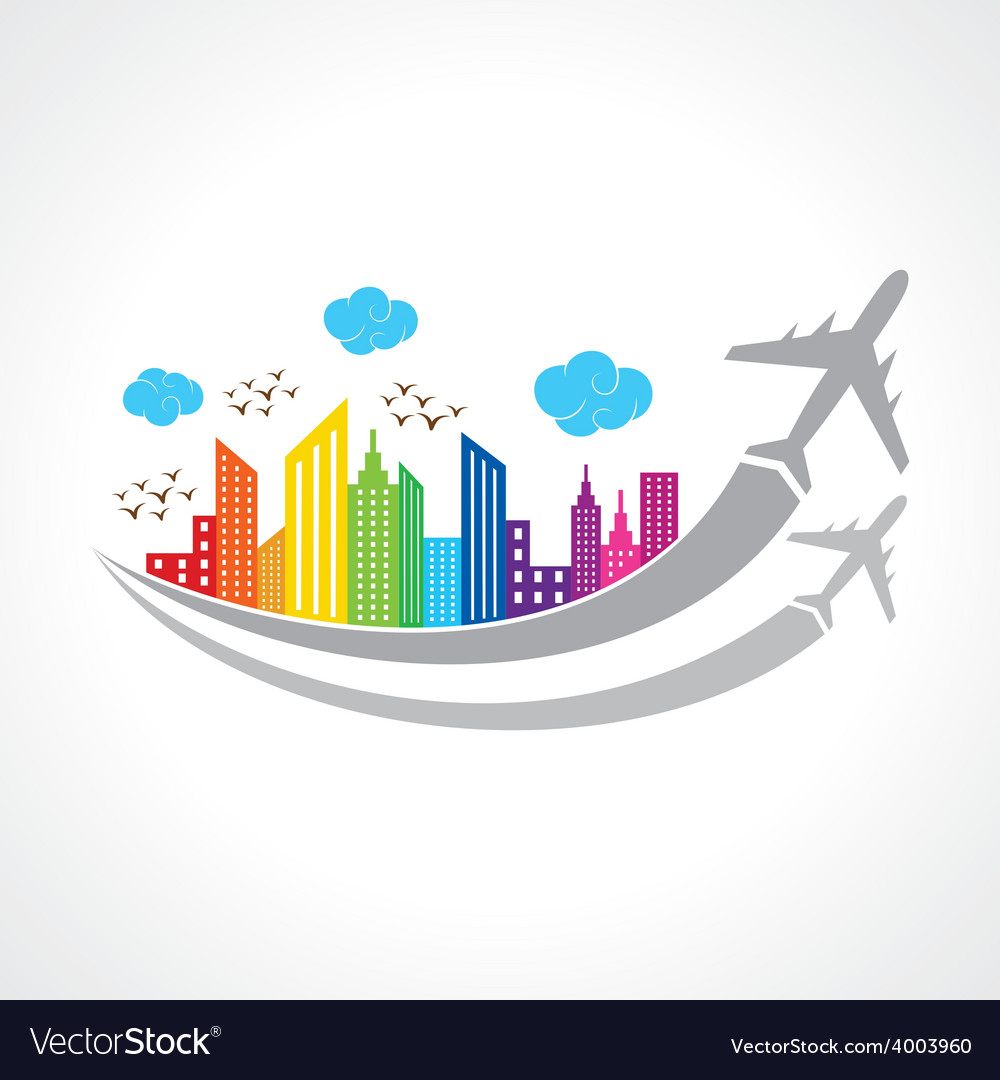Colorful background with city and airplanes vector | Price: 1 Credit (USD $1)