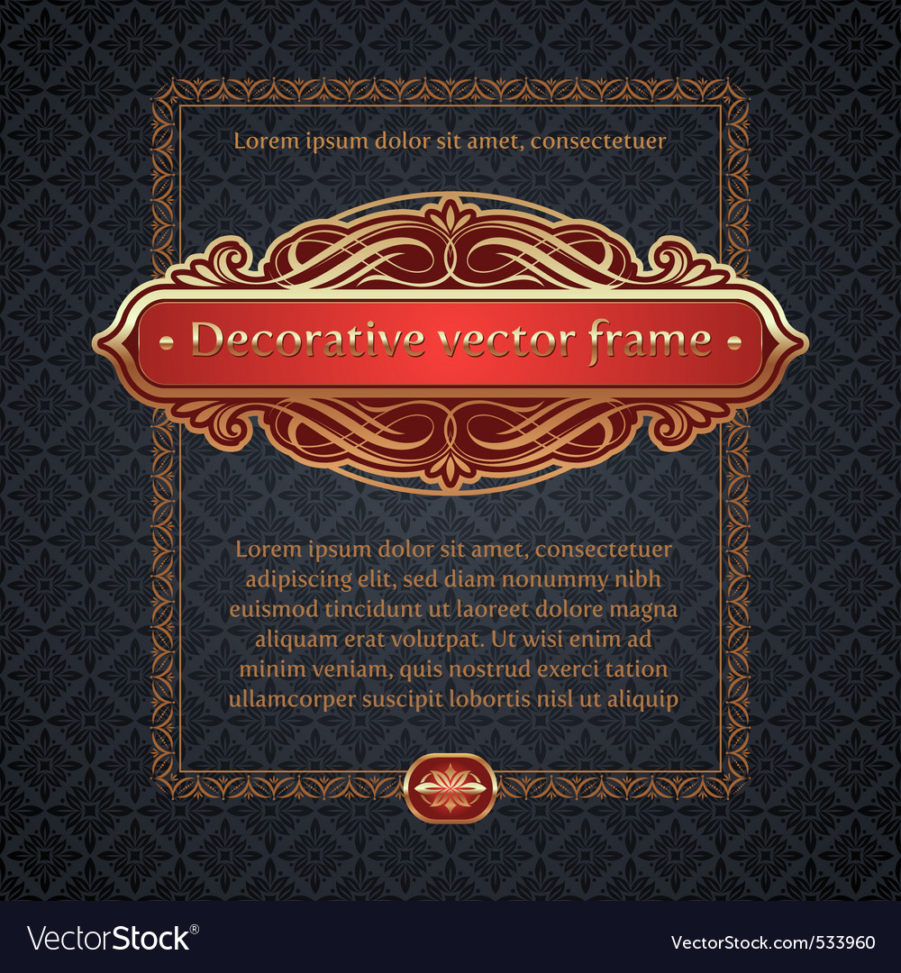 Decorative golden frame vector | Price: 1 Credit (USD $1)