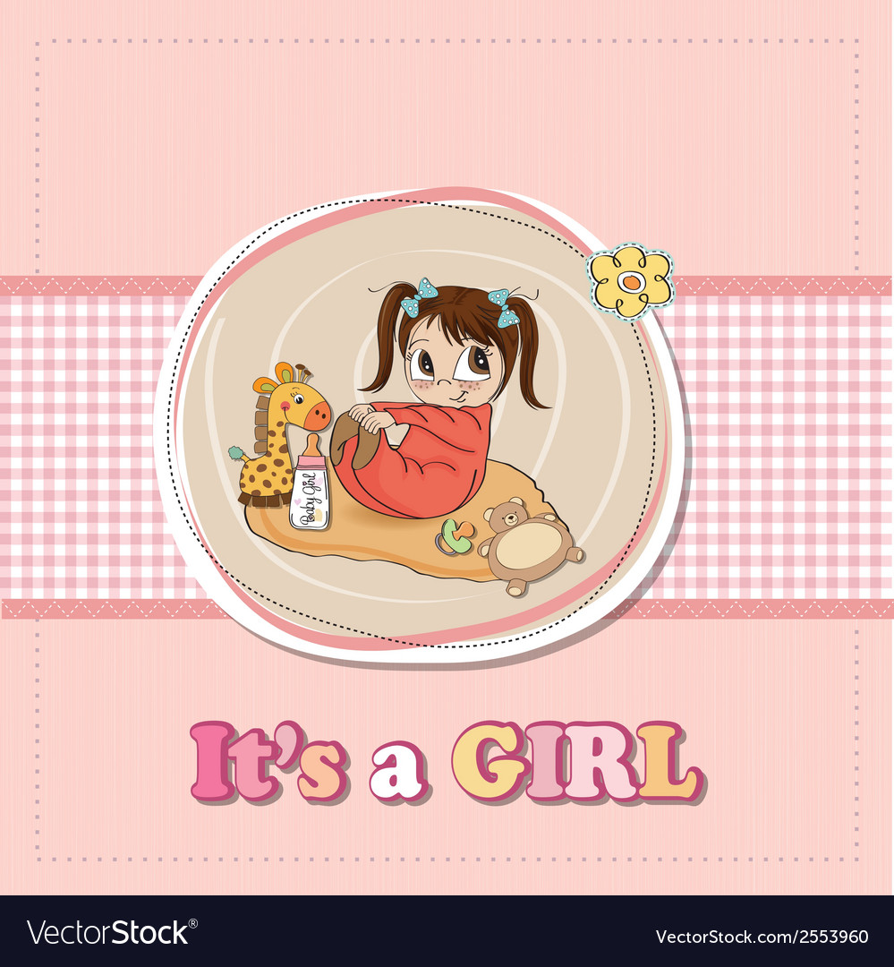 Little baby girl play with her toys baby girl vector | Price: 1 Credit (USD $1)